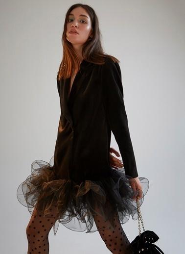 morhipoxsudi etuz Tül Volanlı Kadife Ceket Elbise Siyah